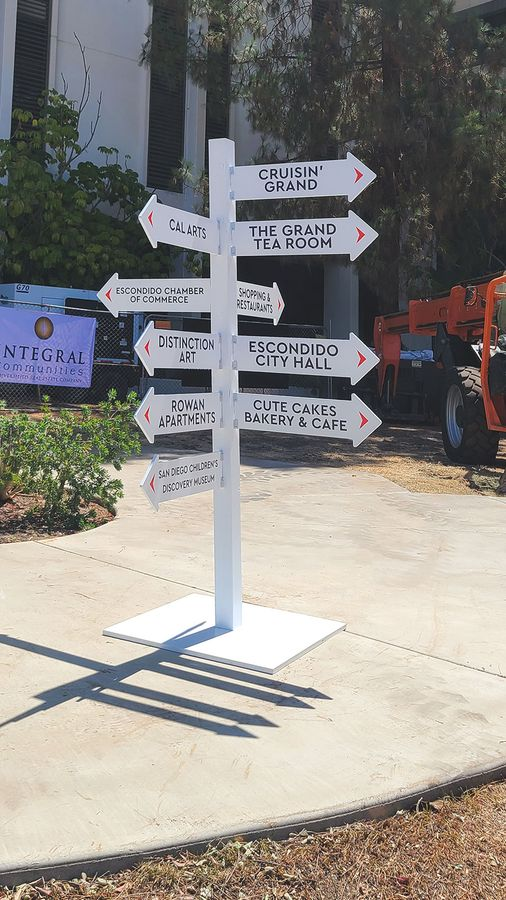 directional plywood sign