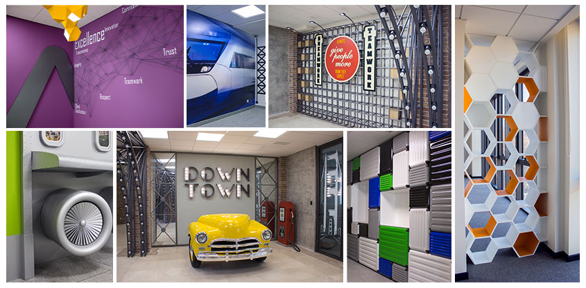 Experiential interior design examples with custom colorful solutions