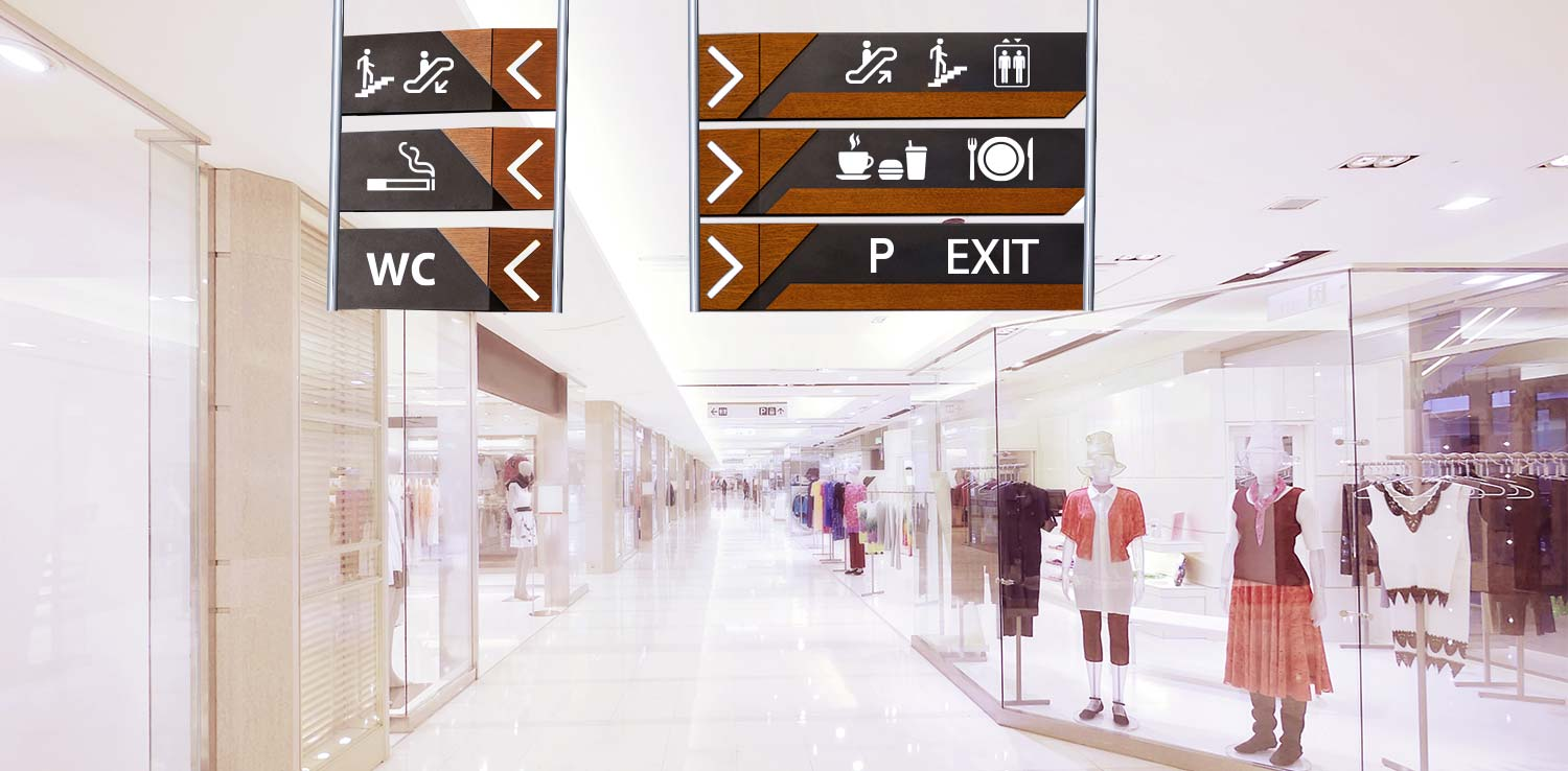 Hanging environmental wayfinding solutions inside a shopping mall