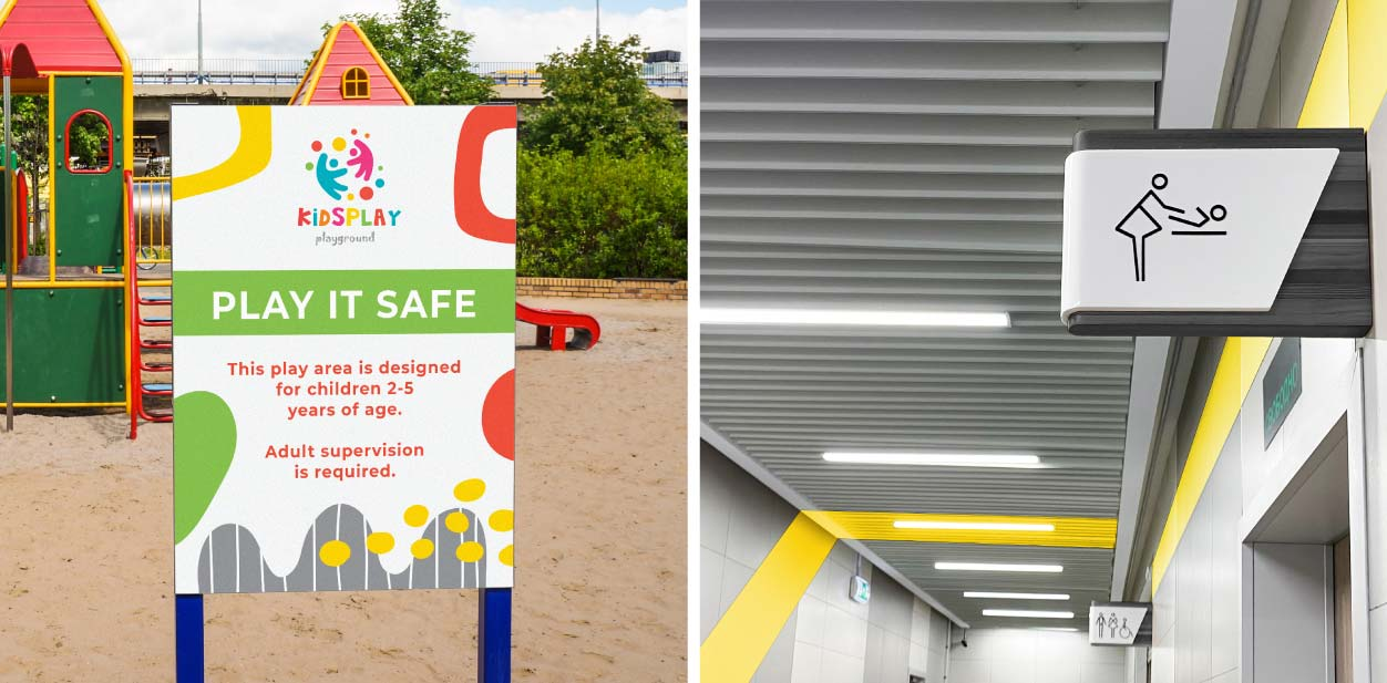 Placemaking signs with safety displays implemented outdoors and indoors