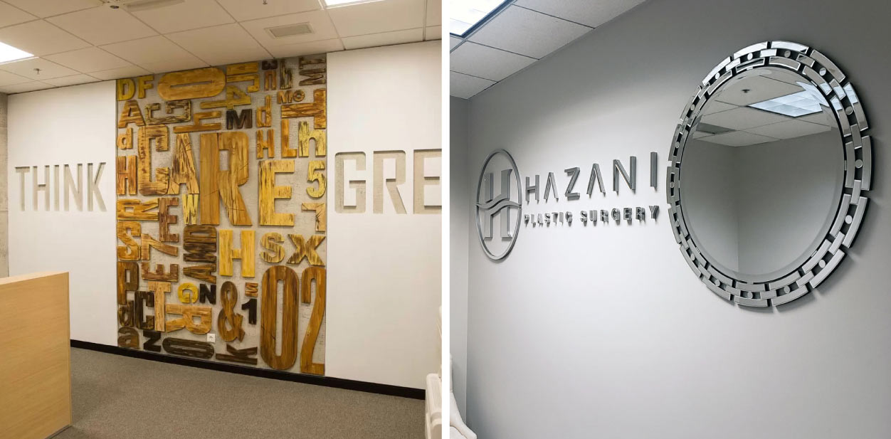 Creative interior placemaking designs with signage combinations