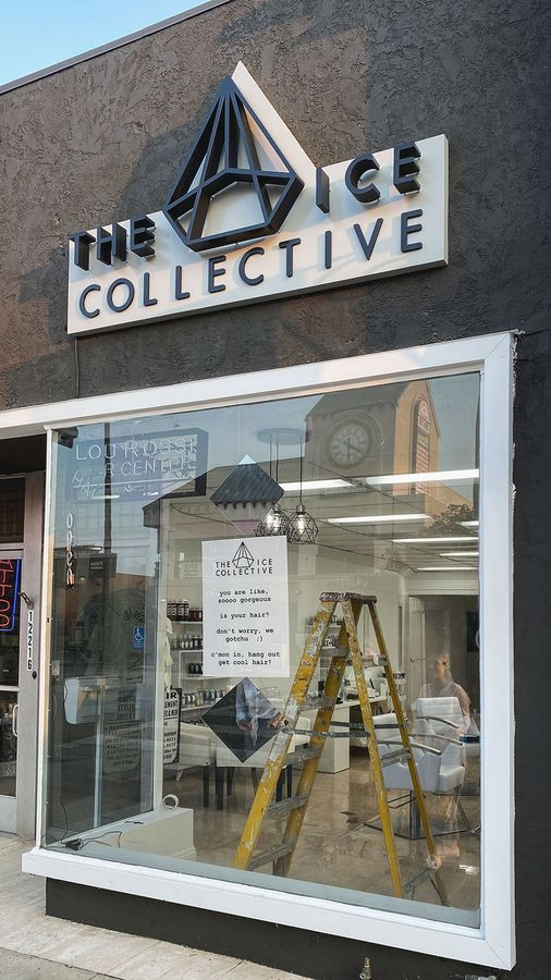 the ice collective backlit sign