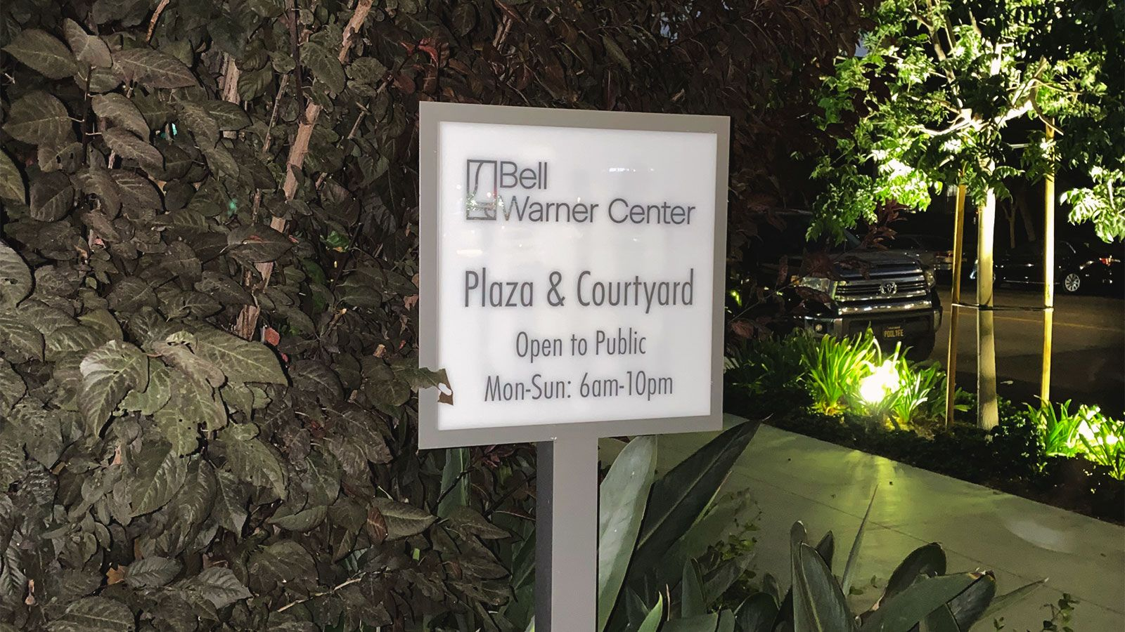 Bell warner center acrylic sign
