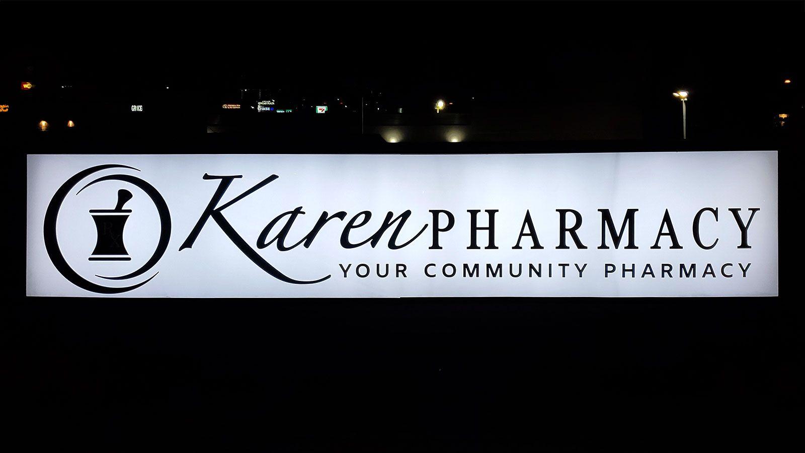 Karen Pharmacy lightbox sign