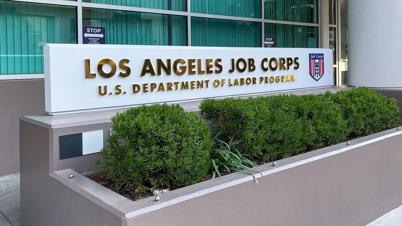 LA job corps monument sign