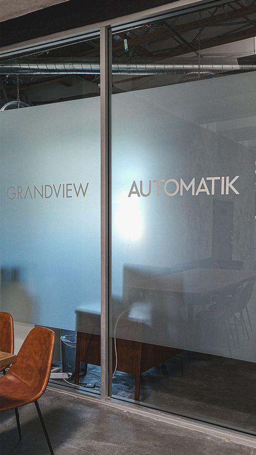 LAAMP office vinyl lettering