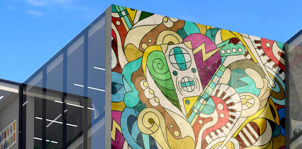Creative placemaking with colorful artistic design elements