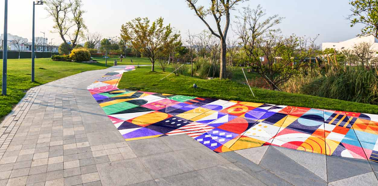 Outdoor colorful placemaking design implemented for the park