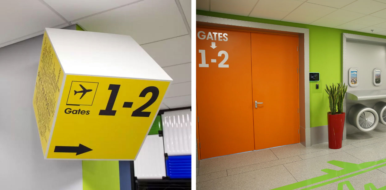 Interior directional elements of creative placemaking in bright colors