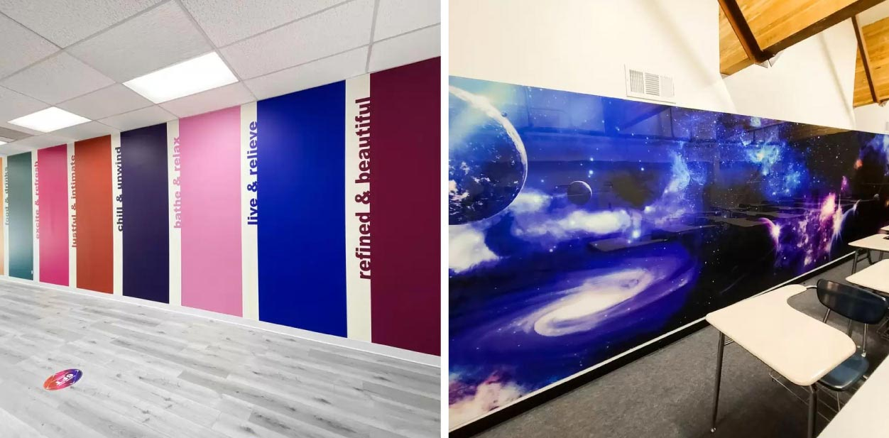 Interior colorful wall graphics for creative placemaking