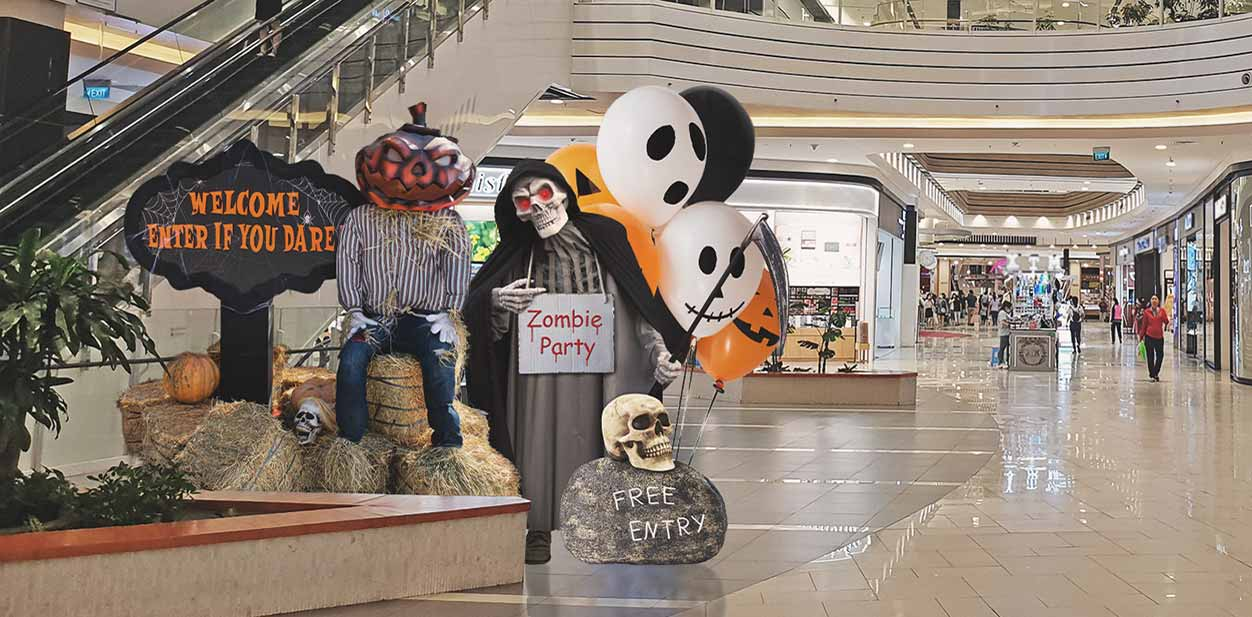 Custom Halloween themed design structures displayed at the mall