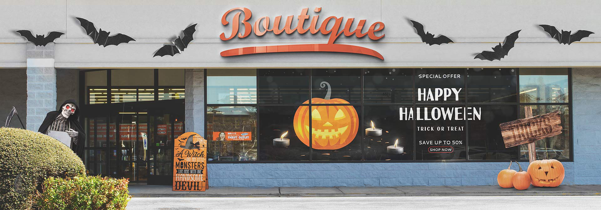 Halloween storefront signs and thematic decorations