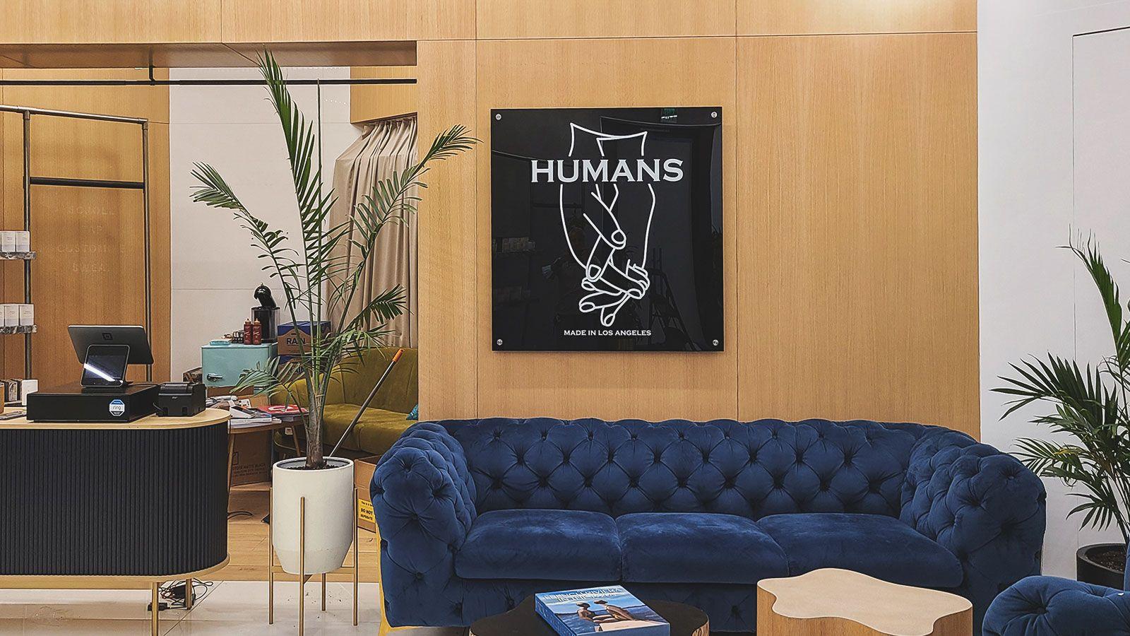 humans acrylic sign