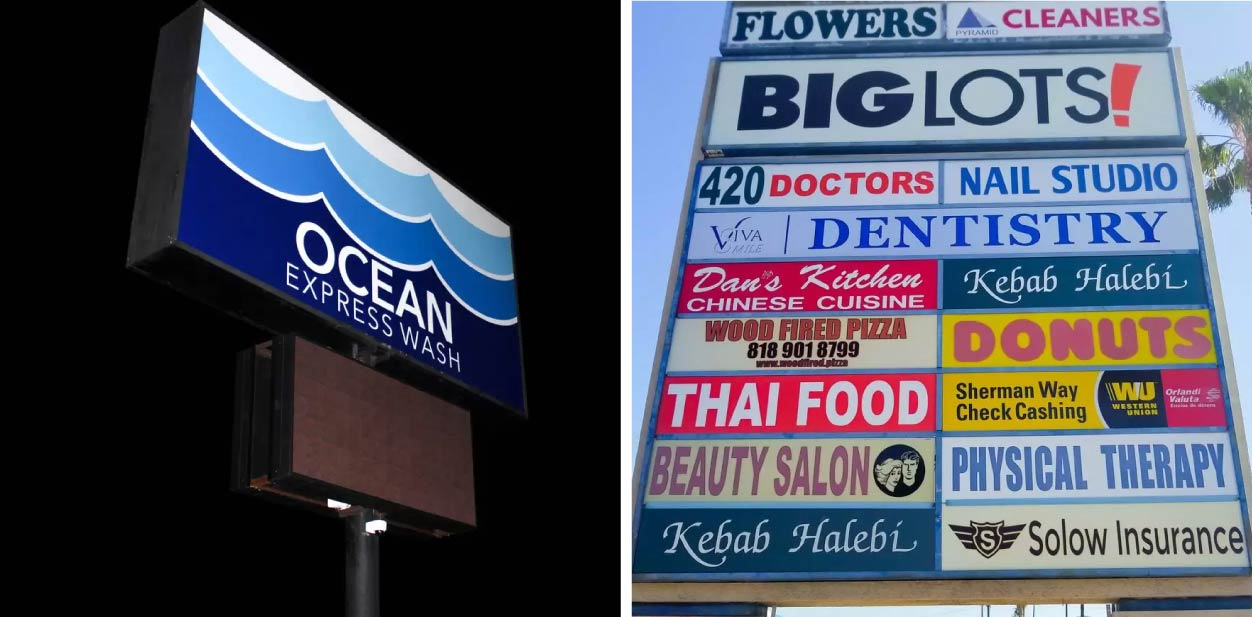 Large outdoor directional display boards for creative placemaking